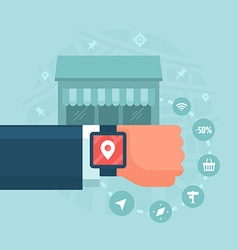 Wearable devices in modern business vector