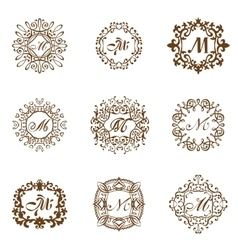 Set luxury monogram template flourishes vector