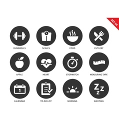 Fitness icons on white background vector