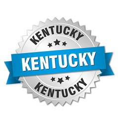 Kentucky round silver badge with blue ribbon vector