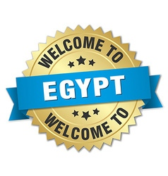Egypt 3d gold badge with blue ribbon vector