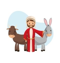 Joseph and farm animals icon merry christmas vector