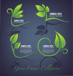 Decorative green leaves and frames vector