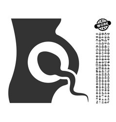 Artificial insemination icon with work bonus vector