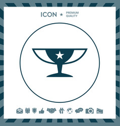 Awards champions cup icon with star vector