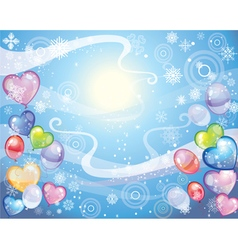 Background with snowflakes and balloons vector