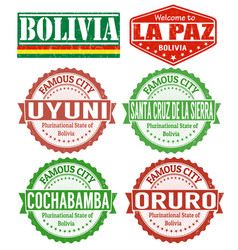 bolivia cities stamps vector image