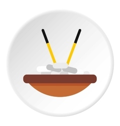 Bowl of rice with chopsticks icon flat style vector image