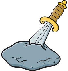 Cartoon sword in a stone vector image vector image
