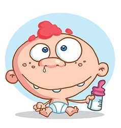 Caucasian baby in a diaper holding a bottle vector