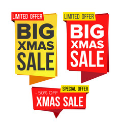 christmas sale banner set winter december vector image
