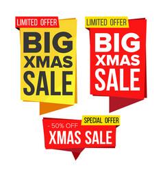 christmas sale banner set winter december vector image vector image