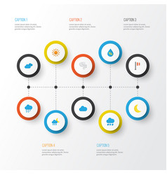 Climate flat icons set collection of drop vector
