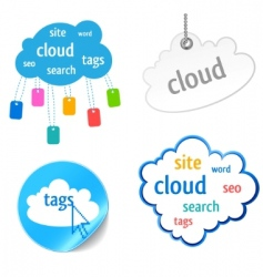 Cloud tag icon vector