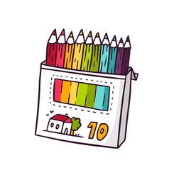 Colored pencils bright children isolated on vector