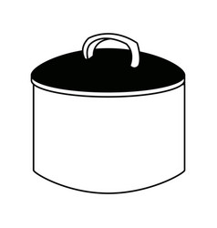 Cooking pot with metal lid utensil vector