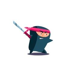 Cute emotional ninja with katana vector