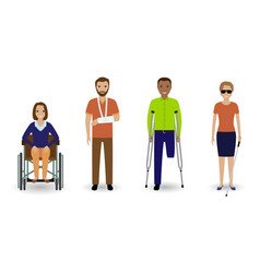 disability people group of invalid men and women vector image vector image
