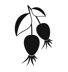 Dogrose berries branch icon simple style vector
