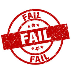 Fail round red grunge stamp vector