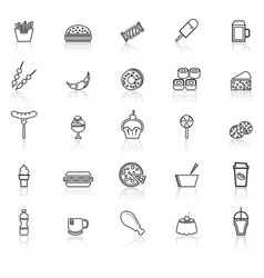 Fast food line icons with reflect on white vector