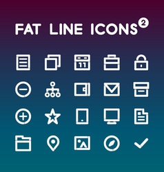Fat line icons set 2 vector