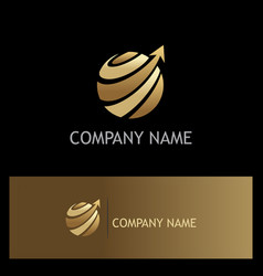 globe sphere arrow technology gold logo vector image vector image