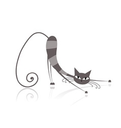 Graceful grey striped cat for your design vector image vector image