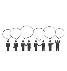 Group of business people with speech bubbles vector