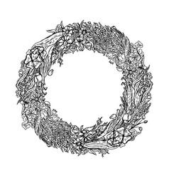 hand drawn wreath of flowers vintage sketch vector image