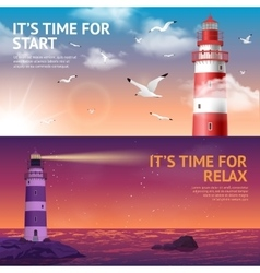 Lighthouse Banner Set vector image vector image