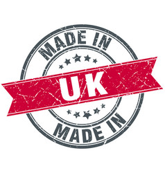 Made in uk red round vintage stamp vector