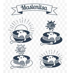 maslenitsa set iicons silhouette vector image