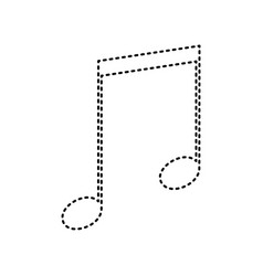 Music sign black dashed icon vector