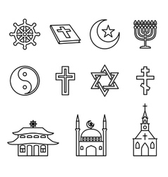 Religion line icons set vector image vector image