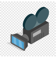 Retro cinema camera isometric icon vector
