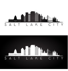salt lake city usa skyline and landmarks silhouett vector image