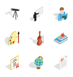 School supplies icons isometric 3d style vector
