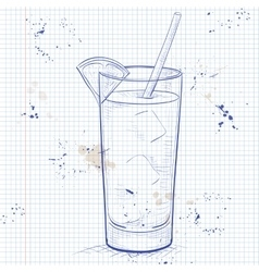 Screwdriver scetch cocktail on a notebook page vector