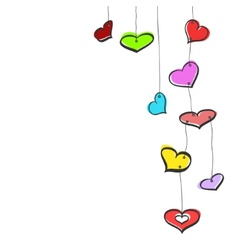 Sketch hanging hearts vector image