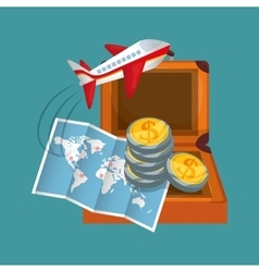 Travel map coins suitcase airplane vector