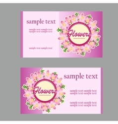 Two floral style cards with lilac disign in pink vector