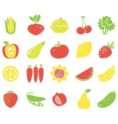 Vegetables and fruits flat icons vector image vector image