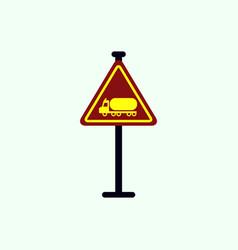 warning road sign gasoline tank truck vector image