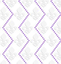 White 3d with colors fleur-de-lis with purple dots vector