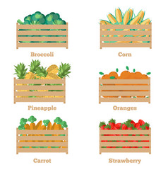 wooden box with fruits and vegetables vector image vector image