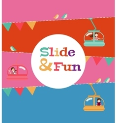 Slide and fun activities ski lift cable vector