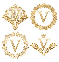 Golden V letter vintage monograms set Heraldic vector image
