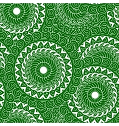 Seamless mandala green white vector
