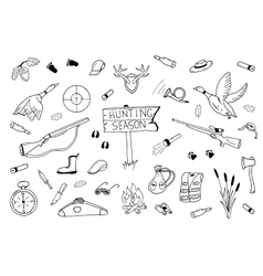 Hunting season collection in doodle style vector image